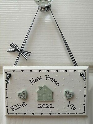 £5.99 • Buy * Handmade Personalised New Home House Plaque Sign Gift Present Shabby Chic *