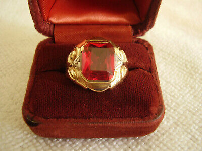 $275 • Buy Mens 10k Yellow Gold Red Ruby Stone Ring Not 6.6 Grams Not Scrap