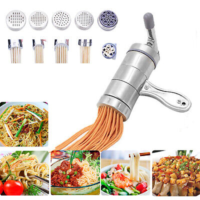 £10.99 • Buy Stainless Steel Manual Noodle Pasta Maker Press Spaghetti Kitchen Tool 5 Molds
