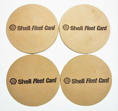 $10.39 • Buy 4 Leather Shell Fleet Card Chemical Oil Fuel Gas Advertising Coasters 3.75