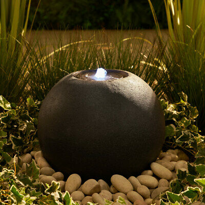 £119.99 • Buy Modern Granite Ball Water Feature With LED Light Round ZEN Fountain 10m Cable