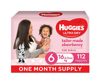 AU109 • Buy Huggies Ultra Dry Nappies Girls Size 6 Junior 16kg+ 112 Count One-Month Supply