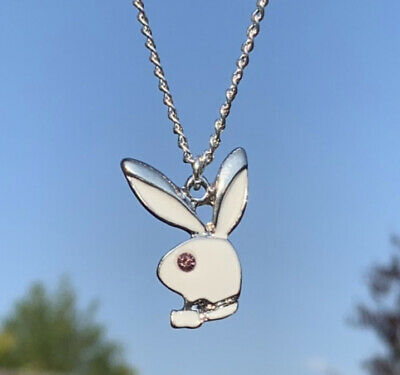 £7.99 • Buy Womens Playboy Bunny Rabbit White Silver Plated Pendant Chain Necklace