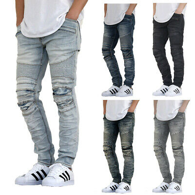 $30.99 • Buy Men's New Biker Distressed Stretch Skinny Jeans 6 Colors *fast Ship