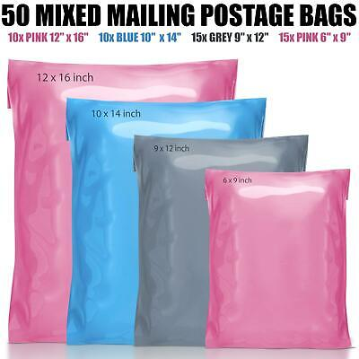 £4.99 • Buy 50 Mixed Mailing Postage Parcel  Poly Plastic Bags Grey Pink Blue In 4 Sizes