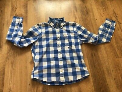 £8.50 • Buy Mens Holister Blue Check Shirt Large Long Sleeve Pit To Pit 58cms