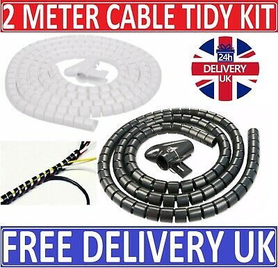 £3.29 • Buy 2 Metre Tidy Cable Kit PC TV Wire Organizing Wrap Spiral Tube Tool Office Home