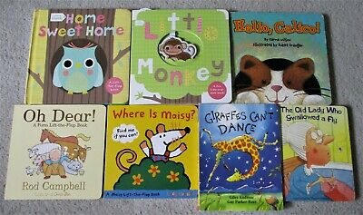 $12.99 • Buy Lot Of 7 Board Books: Little Monkey, Home Sweet Home, Old Lady, Maisy Mouse