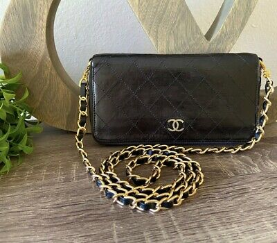 AU1096.26 • Buy Black Leather Chanel Cc Quilted Single Zip Gold Chain Wallet Woc Clutch Double