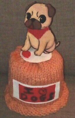 £4.99 • Buy Knitted Toilet Roll Cover / Pug Dog Novelty Bathroom Accessory Gift ' UK '