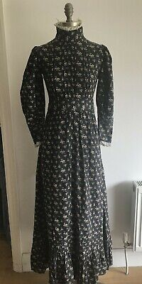 £299.99 • Buy Very Early Laura Ashley Charcoal/Ecru Dress Made In Wales Edwardian Style, Small
