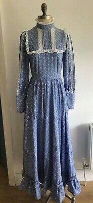 £199.99 • Buy Laura Ashley Vintage Blue Floral Dress Made In Wales Edwardian Style 1970s Small