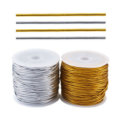 $ CDN18.15 • Buy 1mm Round Elastic Cord Threads Gold &Silver Polyester Rubber Inside Craft String