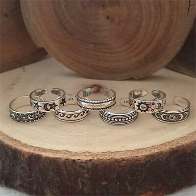 £3.49 • Buy Set Of 7 Rings Boho Knuckle Fashion Star Moon Sunflower Toe Stack Jewelry Gift
