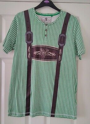 £3.80 • Buy Mens XL Faux Lederhosen T Shirt Green Check With 3 D Image 100% Cotton. Used.