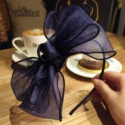 AU23.90 • Buy NAVY BOW HEADBAND Blue Floral Hair Accessory Fascinator Races Bridal Spring Cup