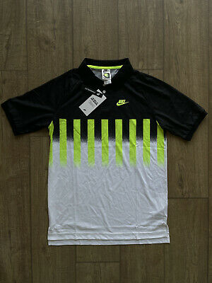 £60 • Buy Nike Re-Issue Agassi Polo Sz Small White Volt Black New CU4200 702