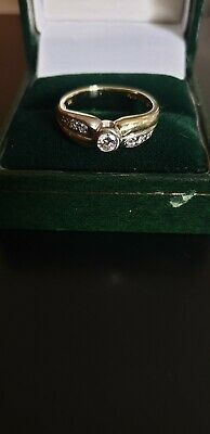 £195 • Buy Vintage Deco 9ct Solid Gold 7 Stone Set Diamond  Ring Size O1/2 P