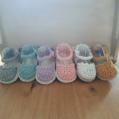 £5.20 • Buy Hand Crocheted Infant Baby Toddler Espadrille Sandals Shoes Newborn 3 Sizes