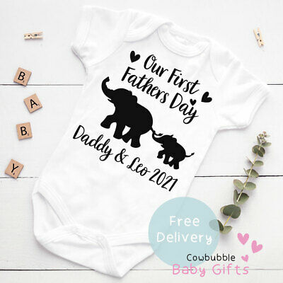 £5.99 • Buy First Fathers Day Babygrow, Personalised 1st Fathers Day Elephant Vest, Bodysuit