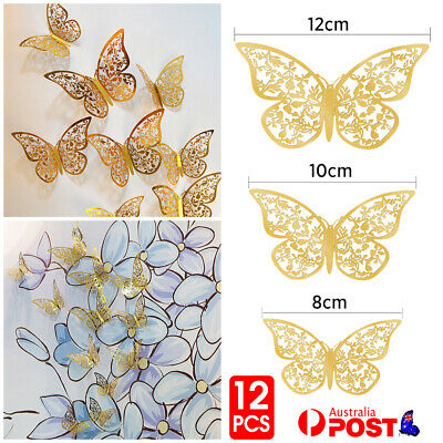 AU3.99 • Buy 12PCS 3D Butterfly Wall Decals Stickers Removable Kids Nursery Decoration DIY