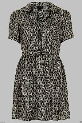 £69.99 • Buy Topshop Cosplay Alt Nude Beige Black Silky Piped Tile Dress - Size 6