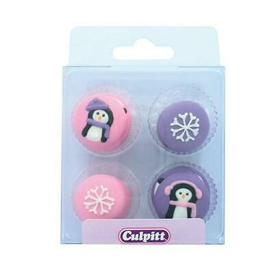 £3.89 • Buy Christmas Penguins Snowflakes Sugar Decorations Edible Cake Toppers