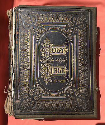 £249.99 • Buy Antique Family Holy Bible With Numerous Illustrations, Brass Clasps, Rev Brown