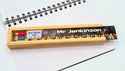 £6.99 • Buy Personalised Wooden Pencil Box - Teachers Gift