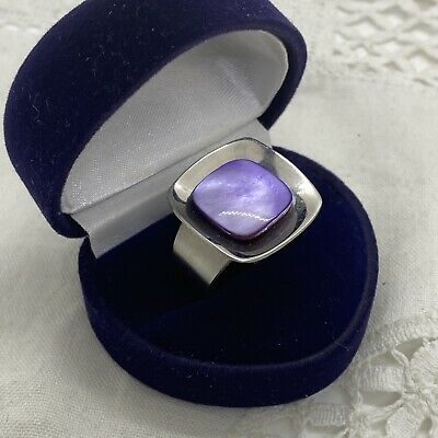 £8.99 • Buy VINTAGE 70s Modernist Ring Size S Adjustable Stainless Steel Purple Mother Pearl