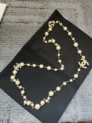 £672.59 • Buy Chanel 45 Inch Gold Tone Faux Pearl Cc Logo Necklace Single / Double Wrap Auth