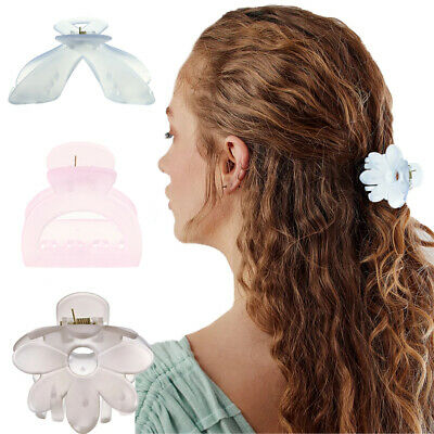 AU3.74 • Buy Women New Solid Color Flower Claw Barrette Crab Hair Claws Girl Hair Accessories