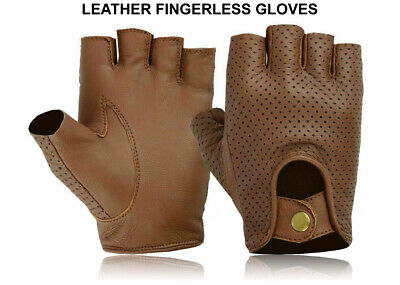 £6.99 • Buy Leather Half Finger Gloves Bus Driving Wheelchair Bike Gym Fingerless Cycling