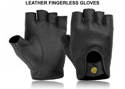 £5.99 • Buy Leather Half Finger Gloves Bus Driving Wheelchair Fingerless Bike Gym Cycling