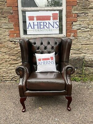 £400 • Buy *Brown Leather Chesterfield Wing Back Chair FREE DELIVERY 🚚 *