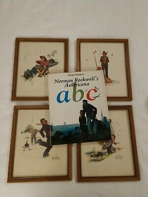 $ CDN57.25 • Buy Norman Rockwell Four Seasons Grandpa And Me Framed Prints (Lot Of 4) And Book
