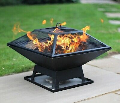 £34.50 • Buy Fire Pit Table Top Square Steel Patio Garden Heater Outdoor Folding BBQ Camping