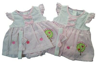 £9.95 • Buy Baby Girls Dress Set Headband Bloomer Traditional Summer Outfit Apple Spotty NEW