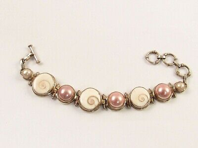 $139.86 • Buy Artisan Crafted Sterling, Pink Mabe Pearl And Ammonite Shell Bracelet JA159