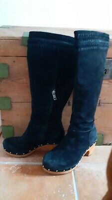 £45 • Buy UGG Australia Black Suede Wood Clog Sole And Heel Tall Boots UK 3