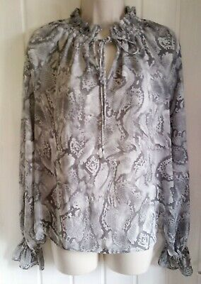 £1.49 • Buy Ladies Top Size 12 Grey Snakeskin Print Frill Neckline And Cuffs By M&S