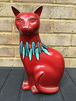 £49.95 • Buy Poole Studio Pottery - Collared Red Delphis Cat - Large 11.5  Size