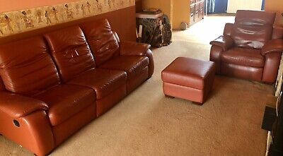 £195 • Buy XL 3 Piece 5 Seat Leather Suite Electric Reclining Ottoman Footstool Terracotta
