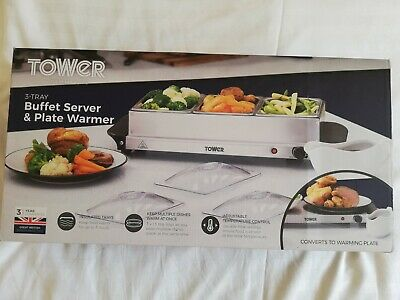 £36.99 • Buy TOWER X3 Tray Buffet Server & Plate Warmer With Adjustable Temperature New Boxed