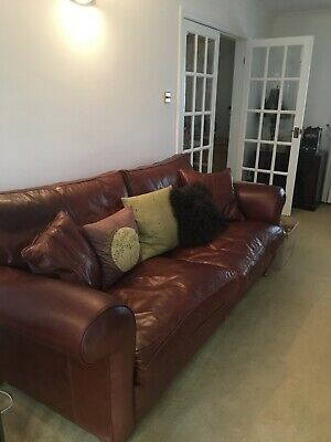 £1500 • Buy Duresta Brown Leather Sofa, Two Armchairs And Footstool.