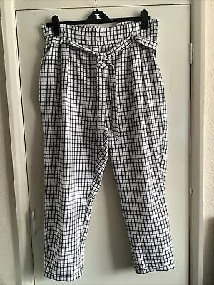 £3.70 • Buy Ladies Black And White Checked Trousers Size 18