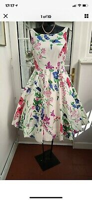 £25 • Buy Monsoon Size10 Floral 50s Style & Flare Dress + Circular Lined Skirt & Petticoat