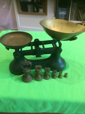 £12.50 • Buy Vintage Style Cast Iron Kitchen Scales With Brass Weights 1lb- 1/2 Oz