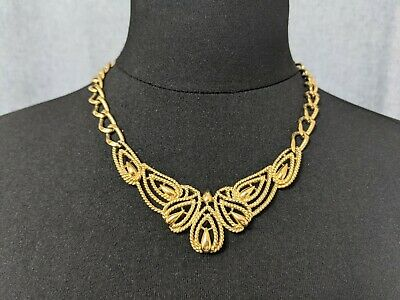 £82 • Buy Lovely Vintage Gold-tone Openwork Leaves Design Necklace By Trifari Jewellery