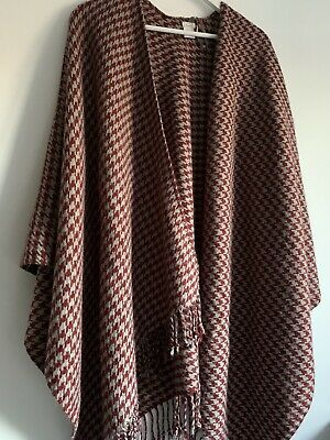 £7.99 • Buy Linea Red & Grey Houndstooth Shawl Wrap Blanket Scarf Cape - House Of Fraser